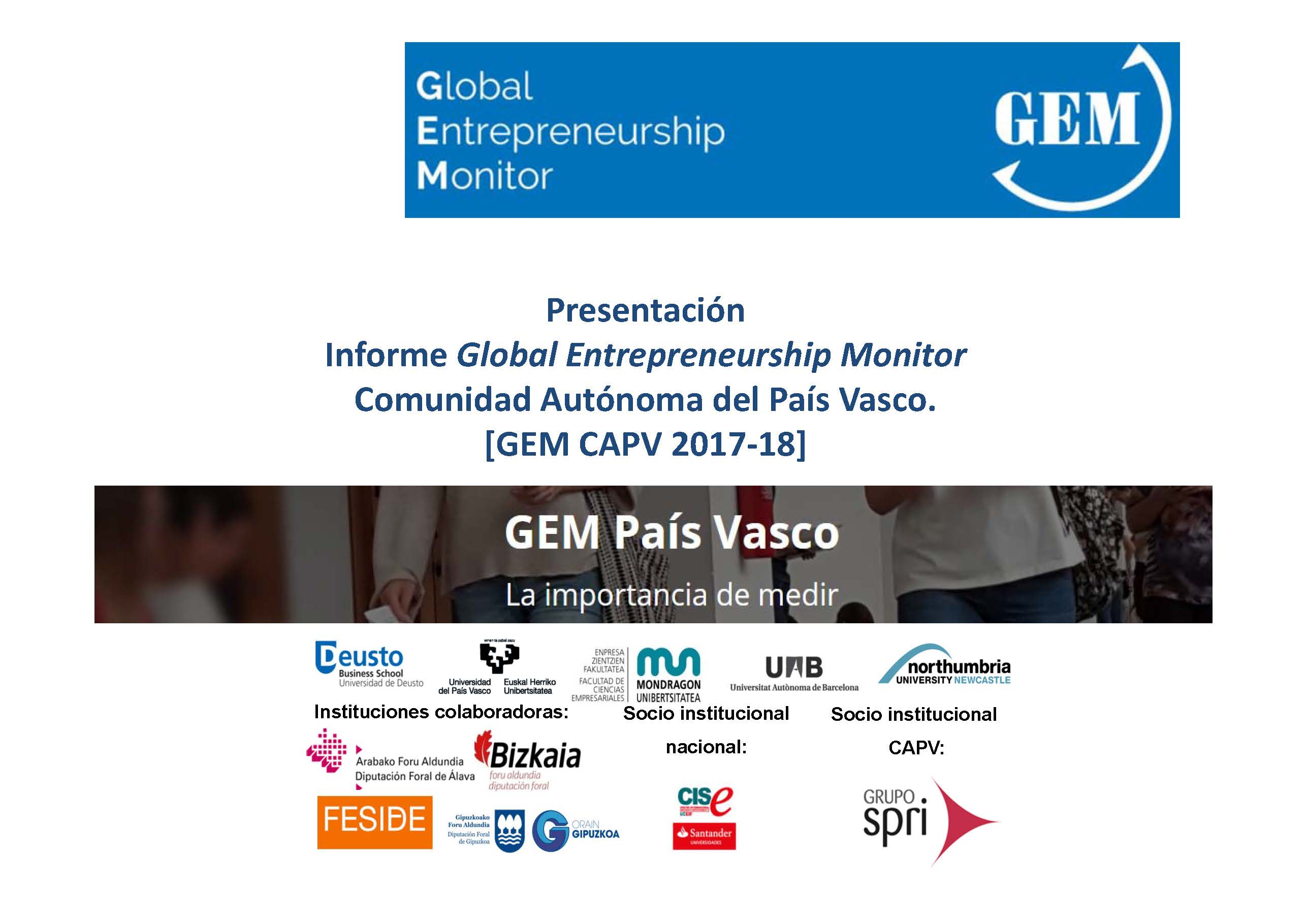 Invitación a la presentación del Informe GEM País Vasco 2017-2018